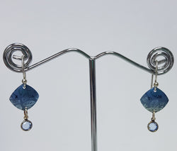 Square Leaf Blue Silver Earrings