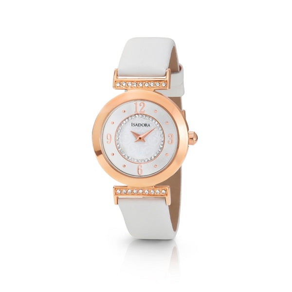 Altea by Isadora Rose Gold Tone Case Crystal Set with White Leather Strap Watch