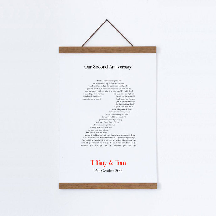 Personalised Second Anniversary Song Lyrics Cotton Canvas Print