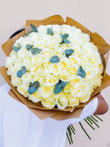 75 White Rose Hand-tied