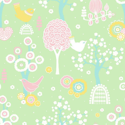 Katie Bourne Wallpaper ON SALE | Cluck A Doodle Farm in Blue