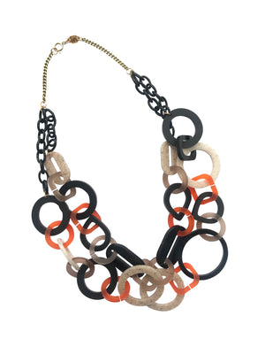 Links Double Necklace  in Black and Nude by Toolally