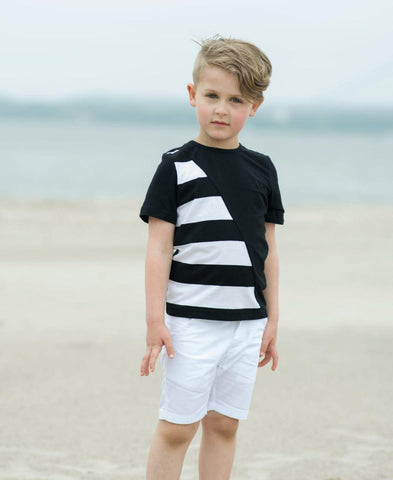 Black & White Striped Tee Short Sleeve