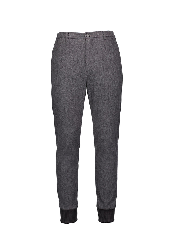 Cuffed Tailored Joggers Grey Stripe
