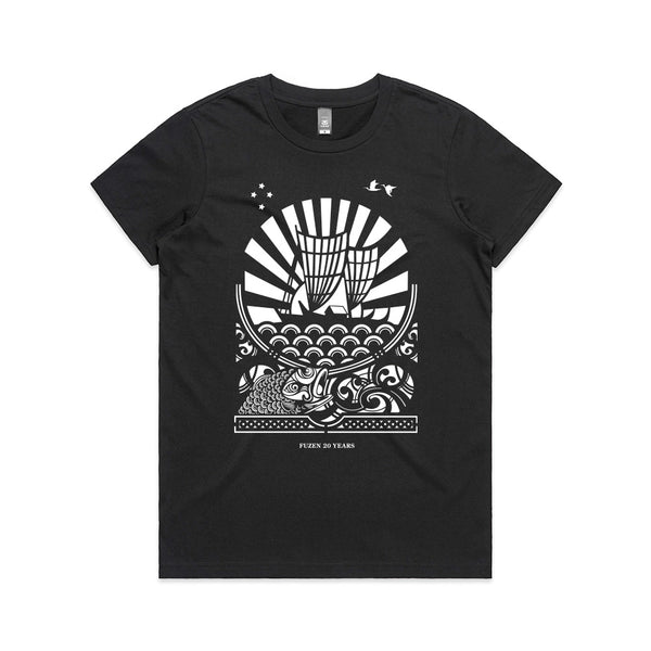 Fuzen Ship Womens Tee Black/White