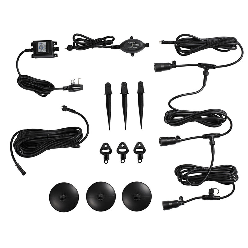 3 X 1W Led Ebony Garden Outdoor Spotlight Kit 50Lm