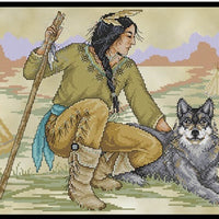 Native American Brave Cross Stitch Pattern