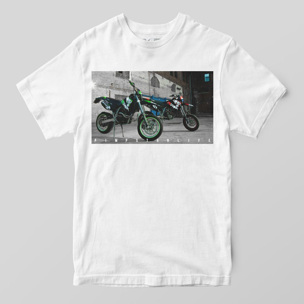 Pimpstar Signature - Two Bikes | T-shirt, white