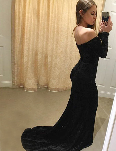 Mermaid Off the Shoulder Long Sleeves Black Velvet Long Prom Dress