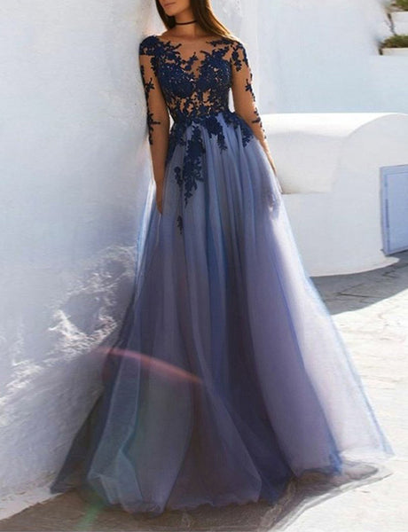 A-Line Bateau Long Sleeves Open Back Dark Blue Appliqued Prom Dress