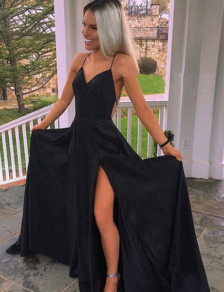 A-Line Spaghetti Straps Backless Sweep Train Black Prom Dress with Split