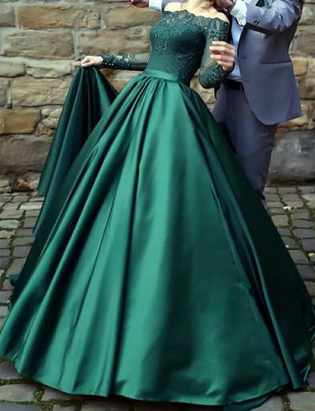A-Line Off the Shoulder Long Sleeves Dark Green Long Prom Dress with Lace