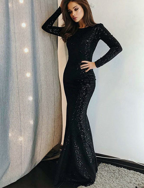 Stunning Long Sleeves Mermaid Evening Dress with Sequin Black Prom Dress
