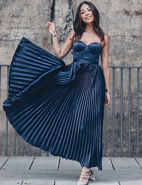 Popular Spaghetti Straps Long Prom Dress with Pleats Navy Blue Homecoming Dress