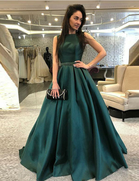 Chic Bateau Sleeveless Long Dark Green Evening Dress with Beading Prom Dress