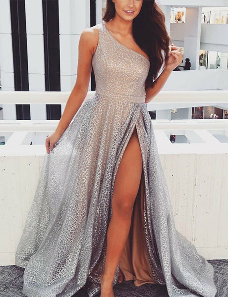 Popular One Shoulder Lace Prom Dress with Split Sleeveless Silver Prom Gown