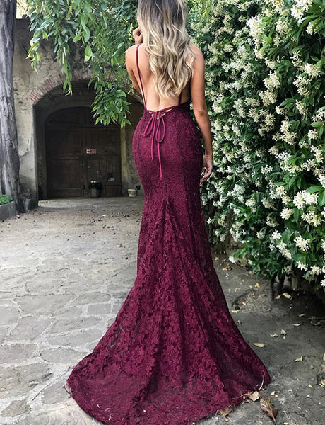 Sexy Mermaid Spaghetti Straps Backless Burgundy Prom Dress Lace Evening Gown