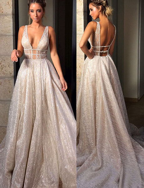 Glamorous Deep V Neck Backless Evening Dress Long White Prom Dress with Sequin
