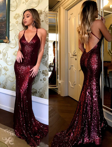 Hot Spaghetti Straps Sequin Mermaid Prom Dress Long Burgundy Evening Dress