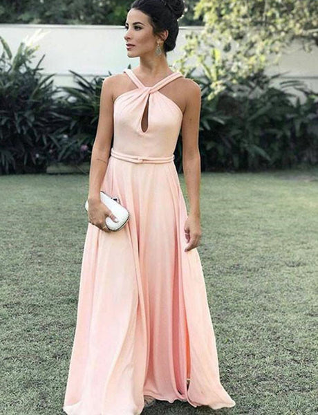 Simple Halter Chiffon A Line Floor Length Sleeveless Pink Prom Dress with Keyhole