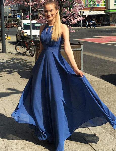 Affordable Floor-Length Chiffon Halter Blue Prom Dress with Beading