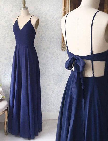 Sexy A-Line Spaghetti Straps Backless Chiffon Long Navy Blue Prom Dress
