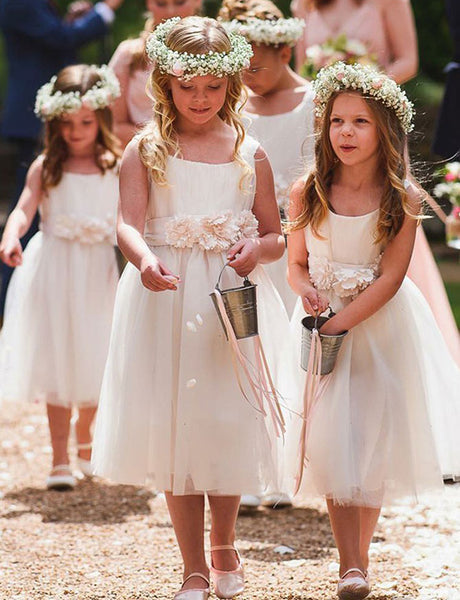 A Line Round Neck Tea Length White Tulle Flower Girl Dress with Flowers