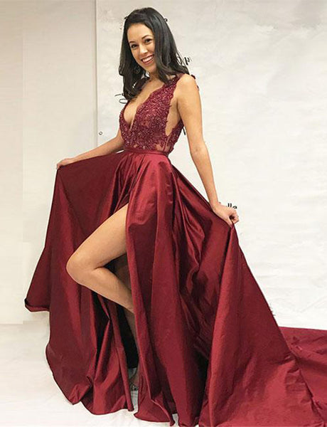 Deep V-Neck Burgundy Evening Gown with Appliques Split Long Prom Dress