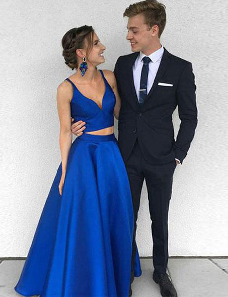 Simple Two Piece Spaghetti Straps Sleeveless Long Satin Royal Blue Prom Dress