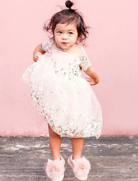 Round Neck Short Sleeves Pearl Pink Tulle Flower Girl Dress with Lace