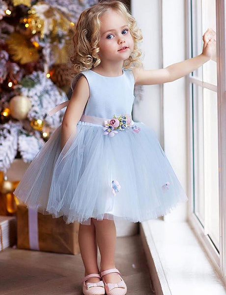 A Line Round Neck Knee Length Tulle Flower Girl Dress with Flowers