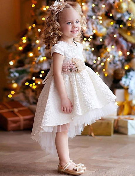 A Line Round Neck High Low White Satin Flower Girl Dress with Flowers
