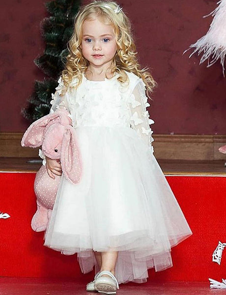 A Line Jewel Long Sleeves White Tulle Flower Girl Dress with Appliques