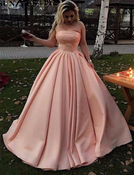 Simple Strapless Prom Gown Sleeveless Floor Length Satin Pink Evening Dress