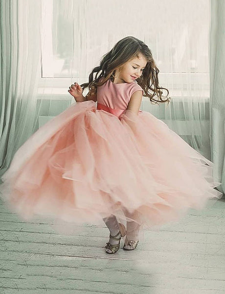 Ball Gown Round Neck Floor Length Pink Tulle Flower Girl Dress with Sash