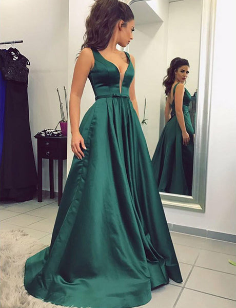 Fancy A-Line V-Neck Prom Dress Long Dark Green Evening Dress with Belt