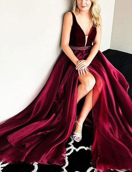 Hot Deep V-Neck Long Burgundy Prom Dress with Split Beading Evening Dress