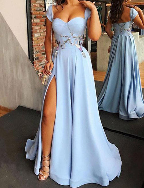 Cheap Cap Sleeves Light Blue Evening Dress with Split Appliques Prom Gown