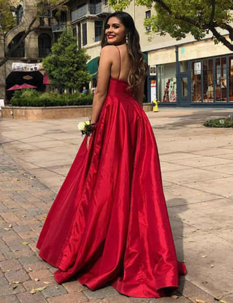 Simple Spaghetti Straps Backless Red Evening Dress Sleeveless Long Prom Dress