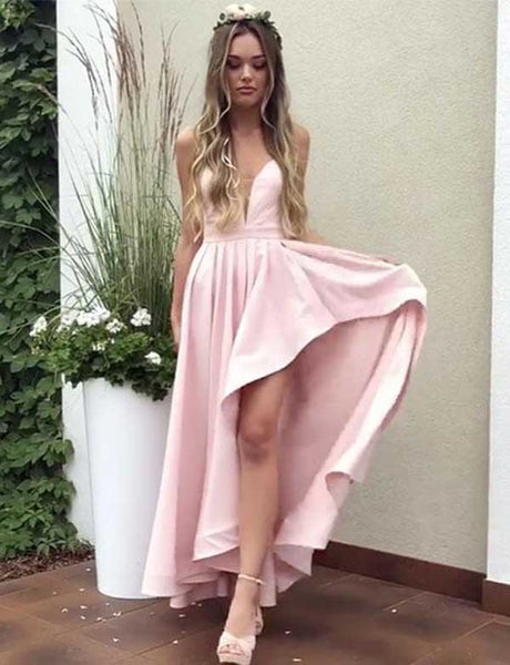 Spaghetti Straps Backless Homecoming Dress Asymmetrical Pink Satin Prom Dress