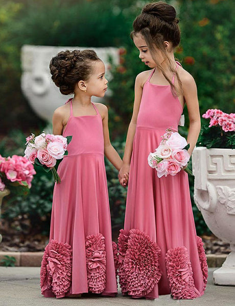 A Line Halter Floor Length Pink Satin Flower Girl Dress with Appliques