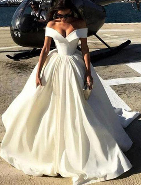 Trendy A Line Off the Shoulder Long Prom Dress Satin White Evening Dress