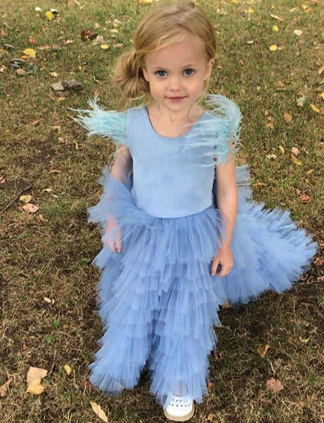A Line Jewel Sweep Train Blue Tulle Flower Girl Dress with Tiered Tassel