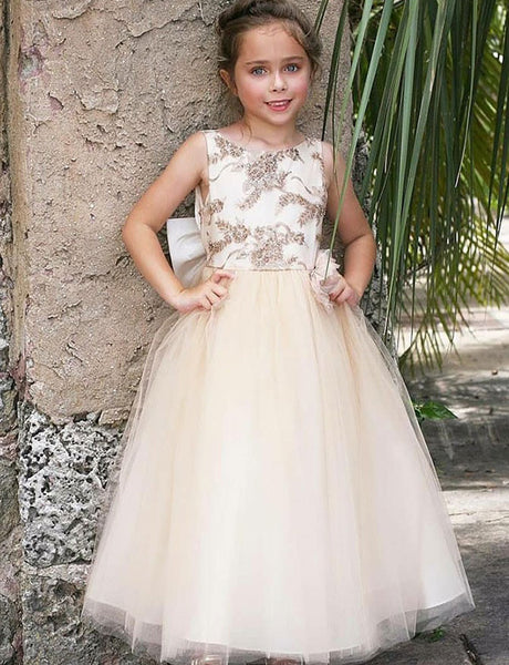 A Line Round Neck Champagne Tulle Flower Girl Dress with Appliques Bowknot