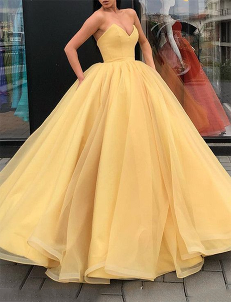 Amazing Sweetheart Prom Gown Sleeveless Long Tulle Yellow Evening Dress
