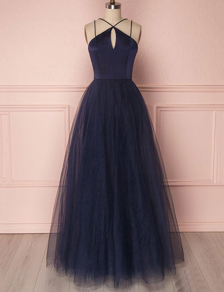 Simple Halter Tulle Floor Length Sleeveless Navy Blue Prom Dress with Keyhole