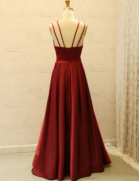 Chic Spaghetti Straps Burgundy Prom Dress Satin Sleeveless Long Prom Gown