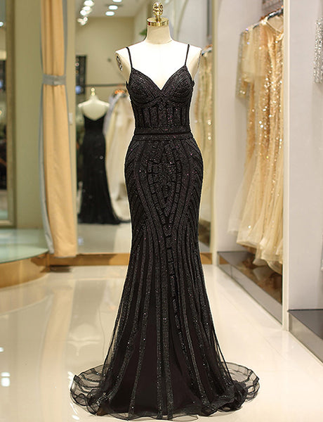 Mermaid Spaghetti Straps Long Black Prom Dress with Beading Evening Gown