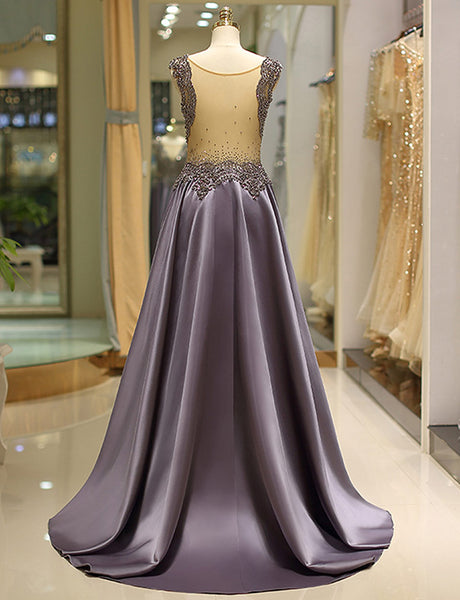 Elegant Jewel Long Lavender Evening Gown with Appliques Beading Prom Dress