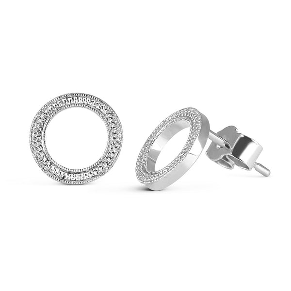 Eternity Engraved Ethical Loop Earrings. 18ct Fairmined Ecological Gold